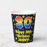 [ Thumbnail: 30th Birthday: Fun Stars Pattern and Rainbow 30 ]