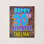 [ Thumbnail: 30th Birthday ~ Fun, Urban Graffiti Inspired Look Jigsaw Puzzle ]