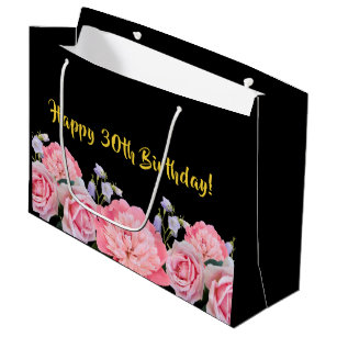 30th Birthday Gift Bag Black With Pink Flowers