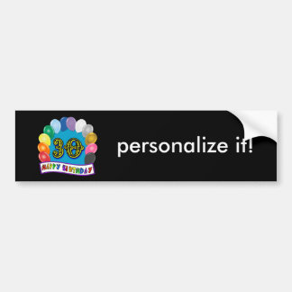 30th Birthday Gifts with Assorted Balloons Design Bumper Sticker