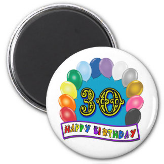 30th Birthday Gifts with Assorted Balloons Design Magnet