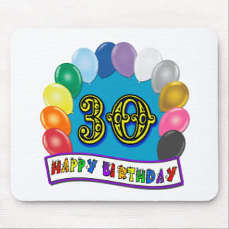 30th Birthday Gifts with Assorted Balloons Design Mouse Pads