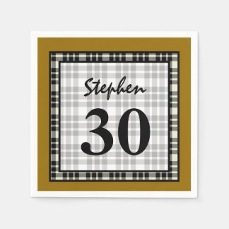 30th Birthday Gold and Black Plaid A04 Standard Cocktail Napkin