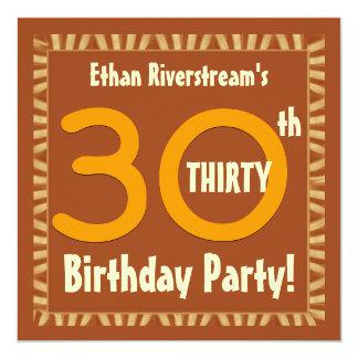 30th Birthday Gold and Orange Stripes W410 Invitation