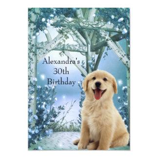 30th Birthday Golden Retriever Winter Blue Card