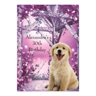 30th Birthday Golden Retriever Winter Pink Card