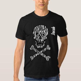 30th Birthday Goth  Zebra Skull and Crossbones V01 T-shirts