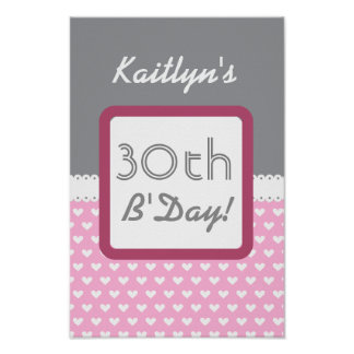 30th Birthday Gray and Pink Hearts B01 Poster