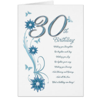 30th birthday in teal with flowers and butterfly greeting cards