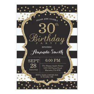 black and gold 30th birthday invitations zazzle