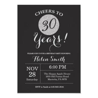30th Birthday Invitation Black and Silver Glitter