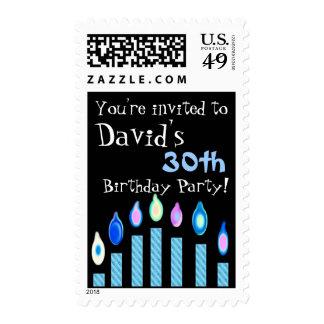 30th Birthday Invitation BLUE Candles Stamp