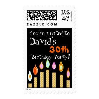 30th Birthday Invitation GOLD Candles Stamp