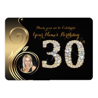 30th,Birthday Invitation,Number Diamond,Photo 2 Card