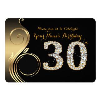 30th,Birthday Invitation,Number Diamond,Photo Card