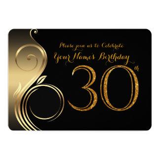 30th,Birthday Invitation,Number Glitter Gold,Photo Card