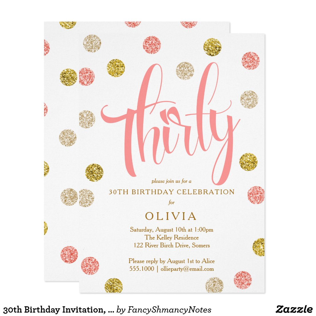 30th Birthday Invitation, Pink and Gold Invitation
