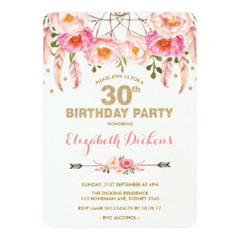 30th Birthday Invitation Pink Gold Boho Floral