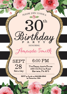 30th Birthday Invitation Women Floral Gold Black