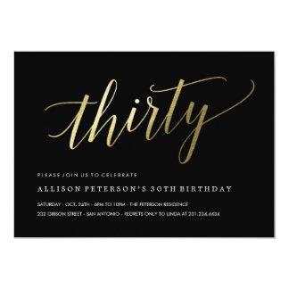30th Birthday Invitations -  Formal Faux Gold