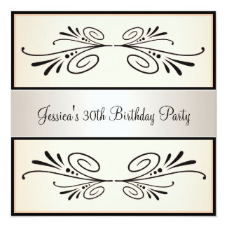 30th Birthday Light Apricot Black Floral Party 5.25x5.25 Square Paper Invitation Card