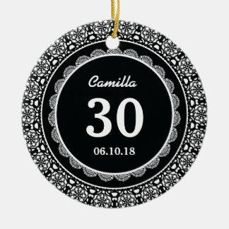 30th Birthday Memento BLACK with Lace D05 Ceramic Ornament