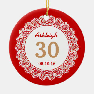 30th Birthday Memento Red and Tan with Lace A01 Double-Sided Ceramic Round Christmas Ornament
