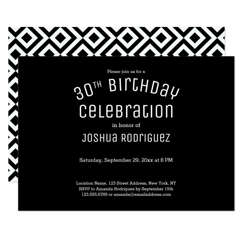 30th Birthday Modern Black White Geometric Pattern Card
