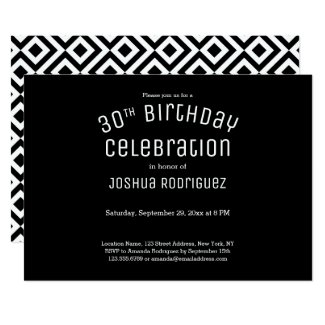 30th Birthday Modern Black White Geometric Pattern Invitation