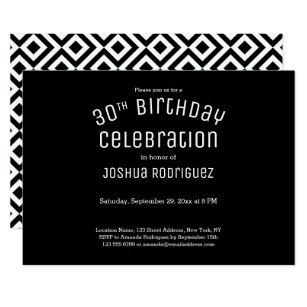 30th birthday invitations zazzle 30th birthday modern black white geometric pattern invitation filmwisefo