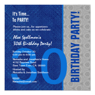 30th Birthday Modern Blue and Silver 5.25x5.25 Square Paper Invitation Card