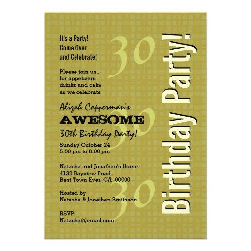 30th Birthday Modern Olive Windowpane Pattern W216 Custom Announcements