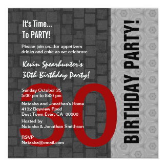 30th Birthday Modern Red Silver Black D418 Invitation