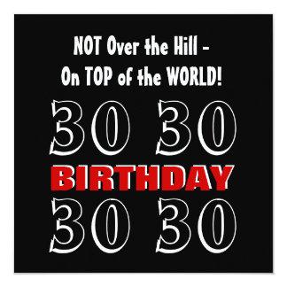30th Birthday Modern Red Silver Black Funny W1025 Card