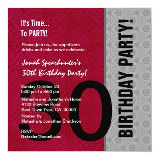 30th Birthday Modern Red Silver Black W1480 Invitation