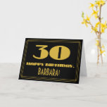 "[ Thumbnail: 30th Birthday: Name + Art Deco Inspired Look ""30"" Card ]"