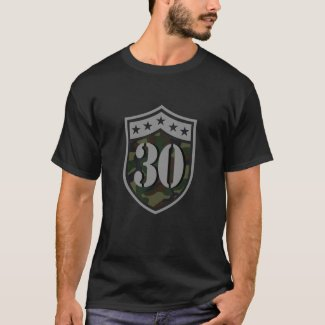 30th Birthday (Number 30 And Camouflage Shield) T-Shirt