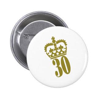 30th Birthday - Number – Thirty 2 Inch Round Button