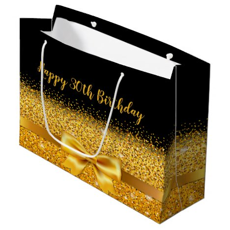 30th birthday on black with gold bow sparkle large gift bag