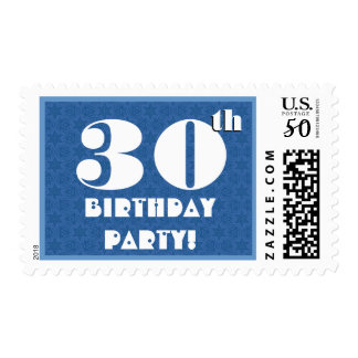 30th Birthday Party Big Bold Blue and White G200 Postage
