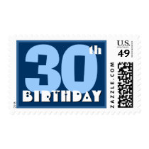 30th Birthday Party Big Bold Blue and White Postage