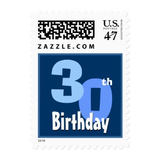 30th Birthday Party Big Bold Blue White Small 01 Postage