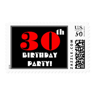 30th Birthday Party Big Bold Turquoise and Black Postage