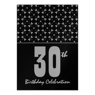 30th Birthday Party Black and Silver Geometric Card
