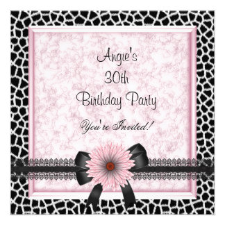 30th Birthday Party Black Giraffe Pink Floral Bow Custom Invite