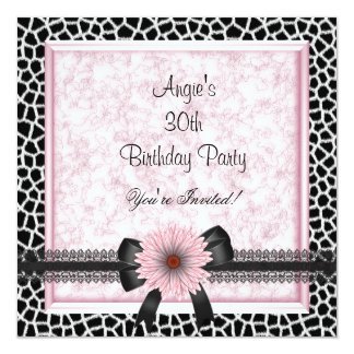 30th Birthday Party Black Giraffe Pink Floral Bow 5.25x5.25 Square Paper Invitation Card