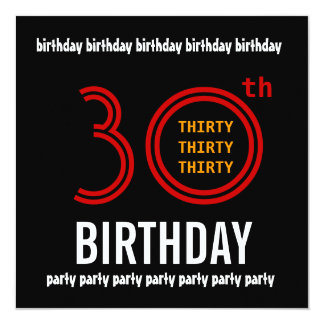 30th Birthday Party Black Red and Gold Invitation