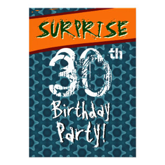 30th Birthday Party Blue and Teal Geometric Stars Invite