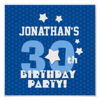 30th Birthday Party Blue Stars Custom Name A14 Poster
