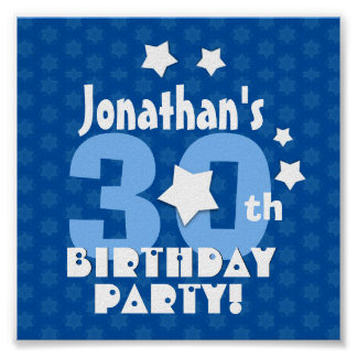 30th Birthday Party Blue Stars Custom Name A20 Poster